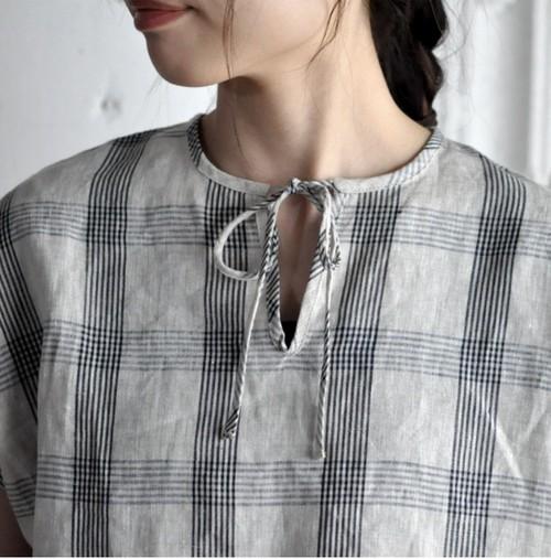 Lulu半袖チェックブラウス(ナチュラル×黒)