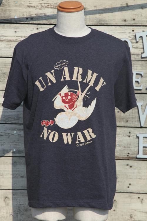 コテージレッドデビルonスワローTシャツ|UNnecessary ARMY NO WAR(ダークヘザーネイビー)