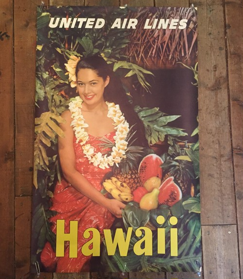 1960's United Air Lines Hawaii Poster