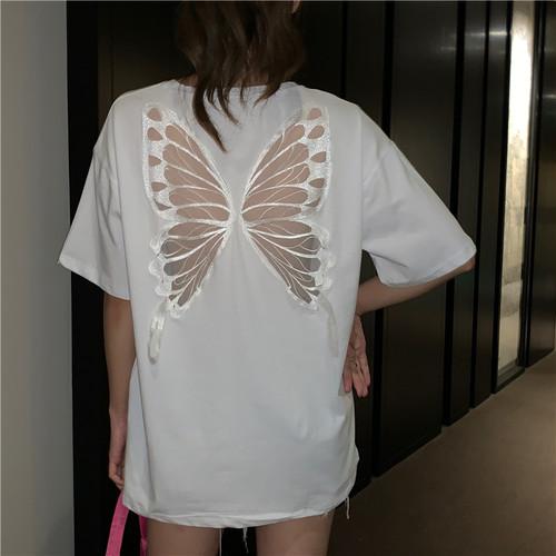 Tシャツ 半袖 シースルー バタフライ ホワイト 韓国ファッション レディース トップス ラウンドネック かわいい セクシー カジュアル シンプル ガーリー