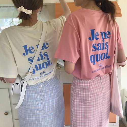 【トップス】レトロアルファベットラウンドネック中袖Tシャツ