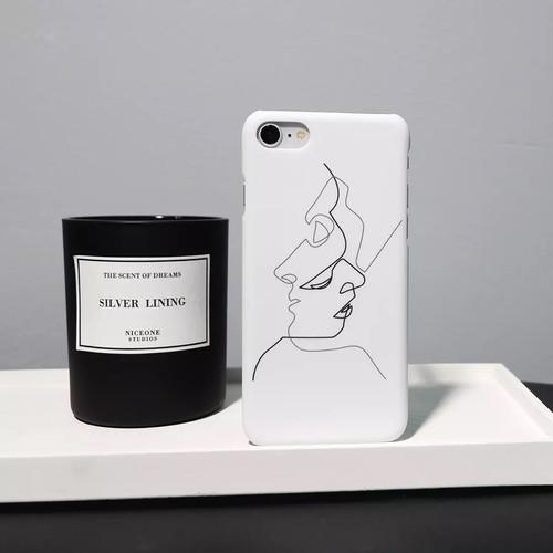 白いマットお揃いカップルiPhoneケース