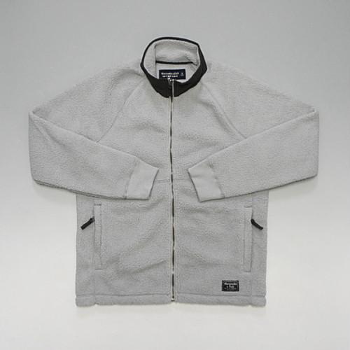 Abercrombie&Fitch アバクロンビー&フィッチ フルジップ フリースジャケット 裾クラシックロゴ ライトグレー