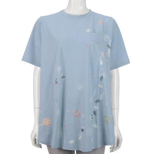 AラインTシャツ ウサギと花