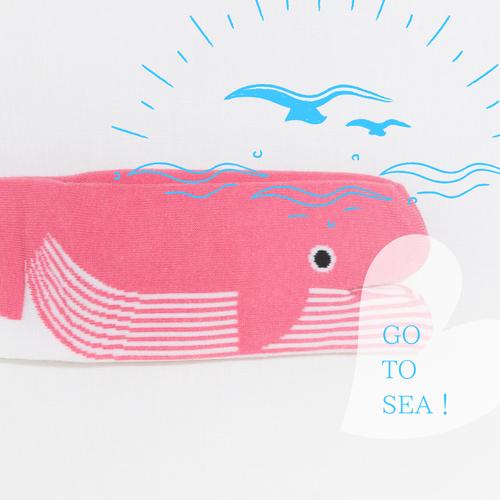 【靴下】足袋かたちの靴下 クジラ ピンク / 23~25cm