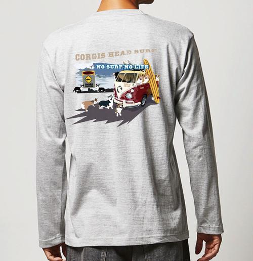 No.2020-welshcorgi-longts006  : 長袖Tシャツ 5.6oz  サーフシリーズ  WARNNING サーフバスとコーギー  NO SURF NO LIFE