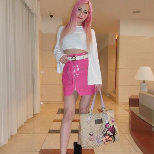 Barbie風ピンクエナメルタイトスカート/S〜L