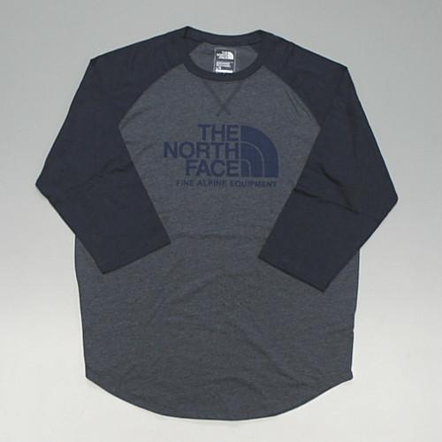 【メール便全国送料無料】THE NORTH FACE ノースフェイス BASEBALL TEE ラグランスリーブ 7分袖 Tシャツ ハーフドームロゴ ネイビー
