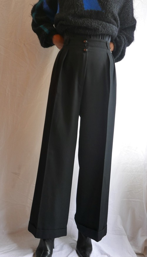 CHANEL Two-Button Wool Pants