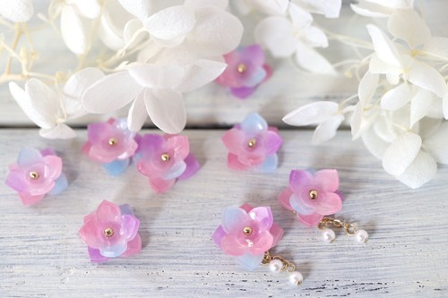 紫陽花ゆらりパールピアス/イヤリング