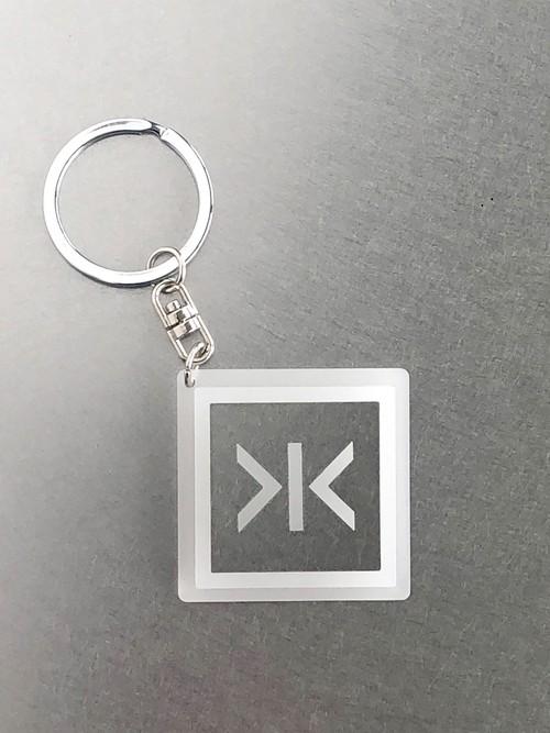 キーホルダー【閉】ステンレス 乳白角