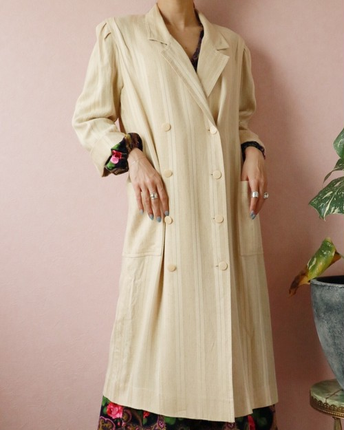70s beige double button spring coat