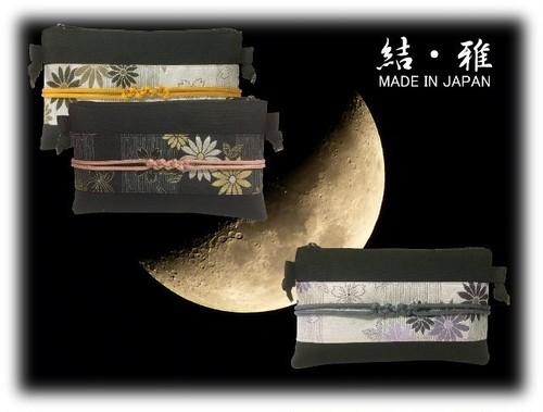 ポーチ 日本製 スマホサイズ 帯び締め風 菊と桜柄 ファスナー式横型ショルダーポーチ