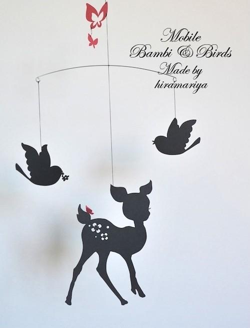 バンビと鳥と蝶のモビール(ブラックver.)