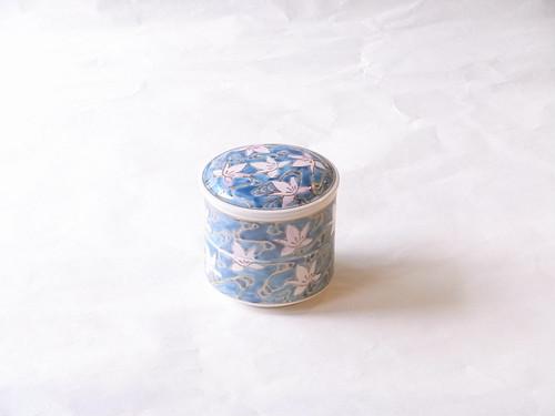 清水焼 青花 流水 二段小重 (蓋物)ミニ