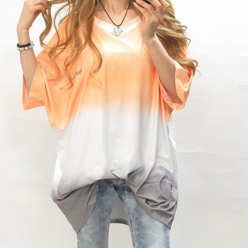 グラデーション タイダイ ムラ染め 胸刺繍 BIGTシャツ ユニセックス オレンジブラック