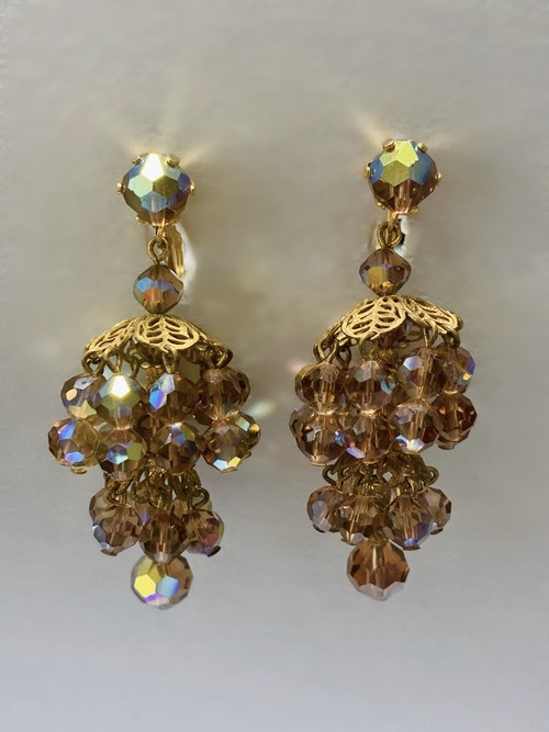Vintage Chandelier Topaz Color Bijoux Earrings