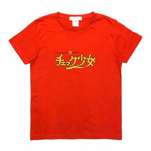 刺繍Tシャツ チェック少女