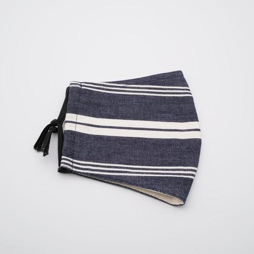 【即納】デニムボーダー布製デザインマスク【日本製】