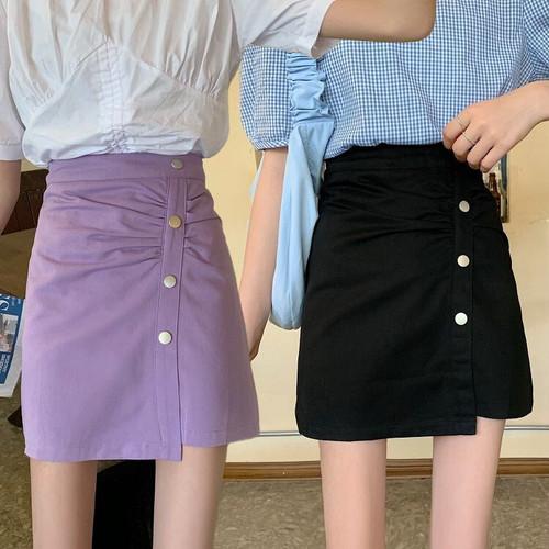 スカート ボタン プリーツ ショート丈 韓国ファッション レディース ミニカート Aライン ハイウエスト レトロ ガーリー