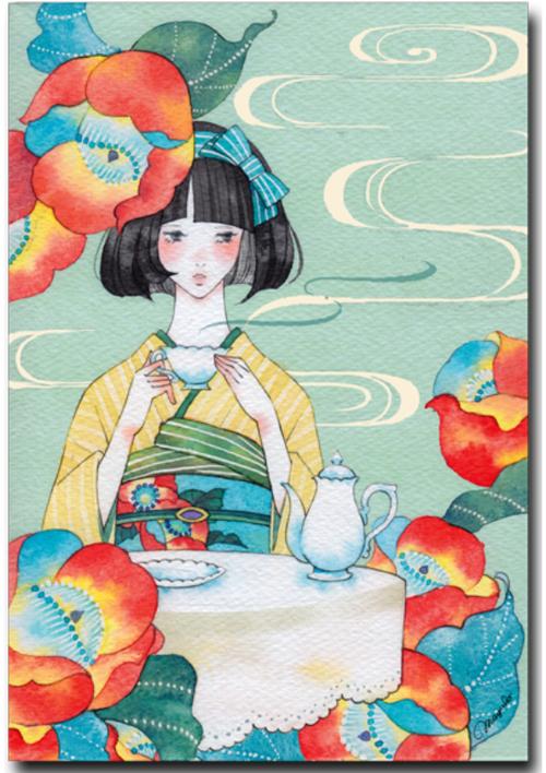 水彩で描く鮮やかな乙女のすがたポストカード椿