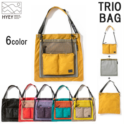HYEY TRIO BAG トリオバッグ HTB 3WAY ショルダーバッグ メッシュ サコッシュ アウトドア 用品 キャンプ グッズ