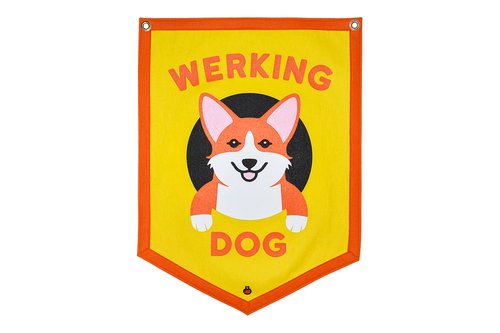 "Maxine x Oxford Pennant ""WERKING DOG"" YELLOW Camp Flag"