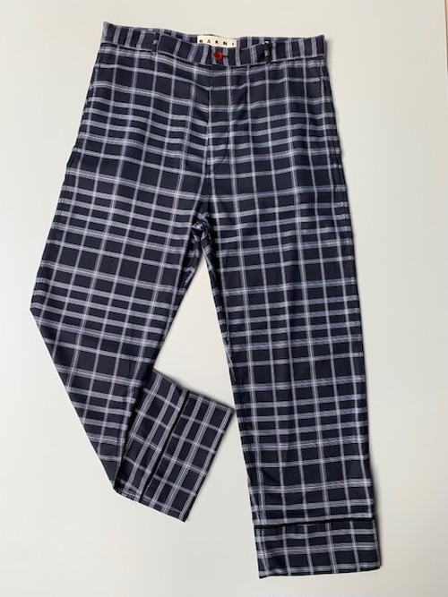MARNI CHECK COTTON TWILL PAJAMA PANTS