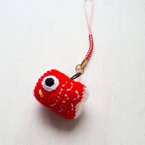 編み編みモチーフ☆赤鯉のぼりストラップ