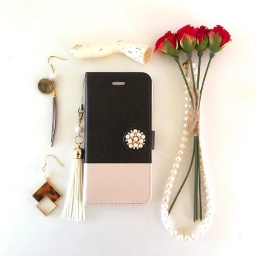(pajour) 2トーン ブラック& ベージュ 柄 手帳型スマホケース iphone/Xperia/全機種