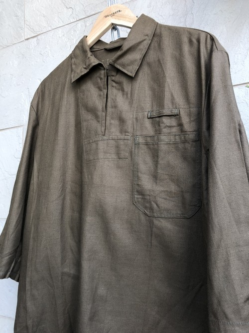 Deadstock 1960s Czech military pullover shirts brown color