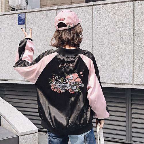 女性ミラーいたずらヒョウ刺繍新しい緩やかな野球ジャケット コートの女性 25 千パビリオン 2017年秋韓国版