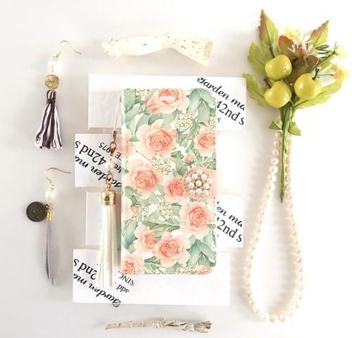 (pajour) ペールピンク ローズ リーフ 柄 手帳型 ケース