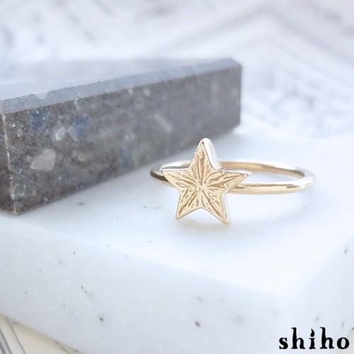 大人っぽい雰囲気の1つ星リング【star ring(gd)】