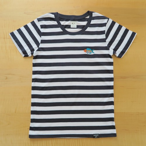 NEW! 2017レディースボーダー刺繍Tシャツ NAVY さかな