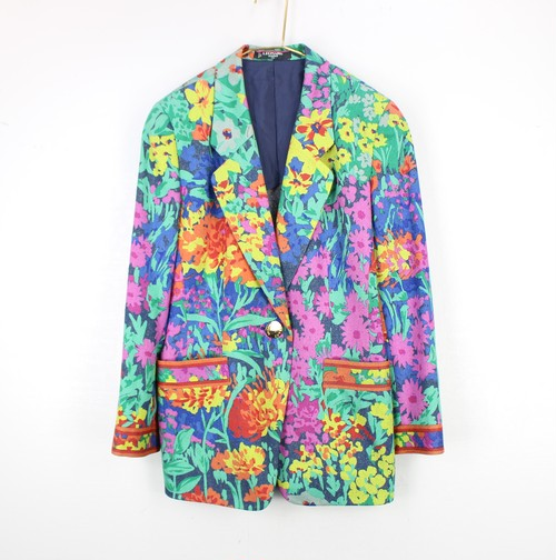 .LEONARD SILK100% FLORAL PATTERNED TAILORED JACKET MADE IN JAPAN/レオナールシルク100%花柄テーラードジャケット 2000000054063