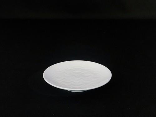 【井上萬二作】白磁青海波文皿(小)