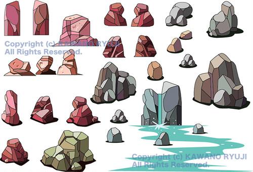 岩石パーツ02_aiデータ(ベクターデータ)