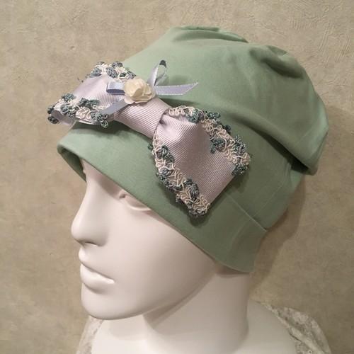 お花のブレードのケア帽子 ミント