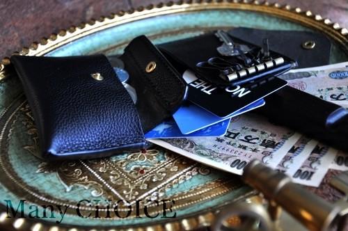 イタリアンオイルレザーアリゾナ・コンパクトキー財布(黒)