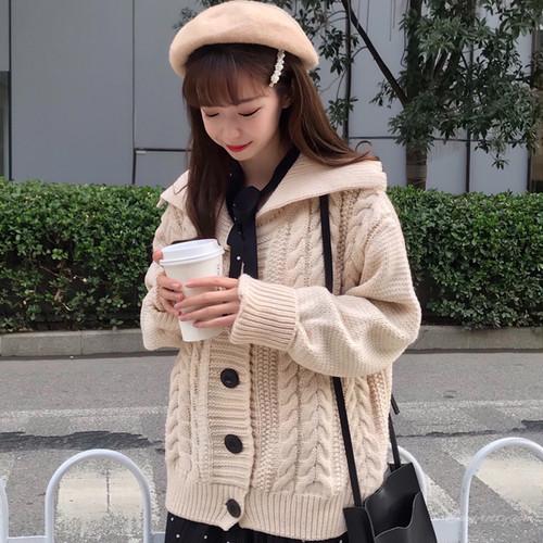 【トップス】秋冬韓国系長袖セーラーカラーアプリコット無地ニットセーター