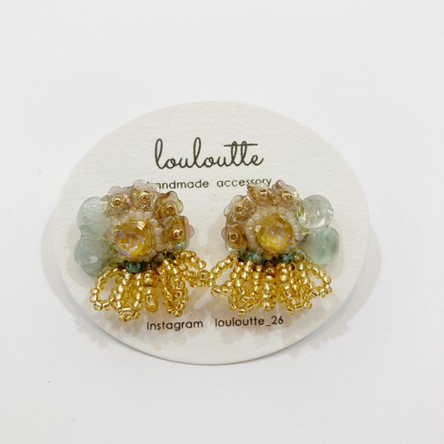 【louloutte】花びらつぶピアス(グリーン×イエロー)
