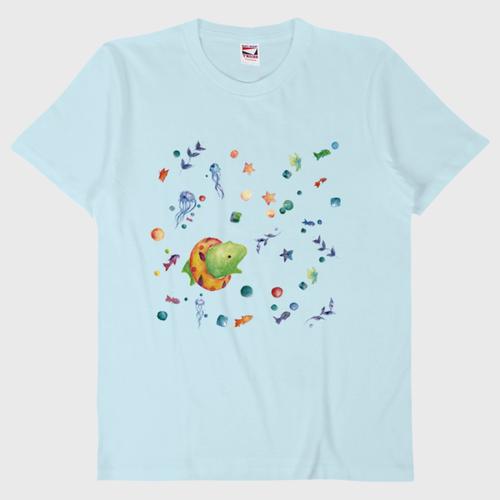 がおと海のゆめTシャツ/ライトブルー