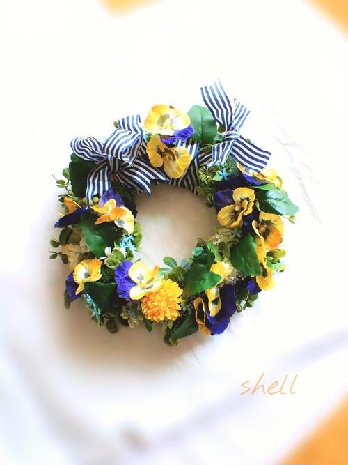 Spring garden wreath・イエローパンジー