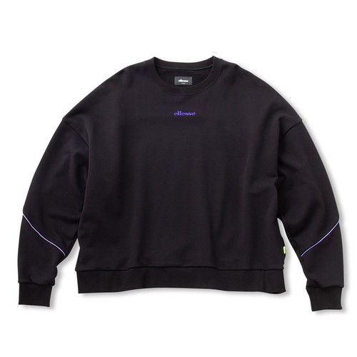 ELLESSE French Terry Piping Crewneck Sweatshirts BLACK