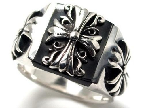 新品*17~25号*オニキスフレアクロスシルバー925リング*銀指輪*5サイズ