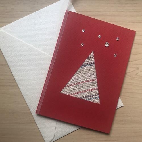【コラボ商品】さをり織り×ラインストーンの一点物Xmasカード