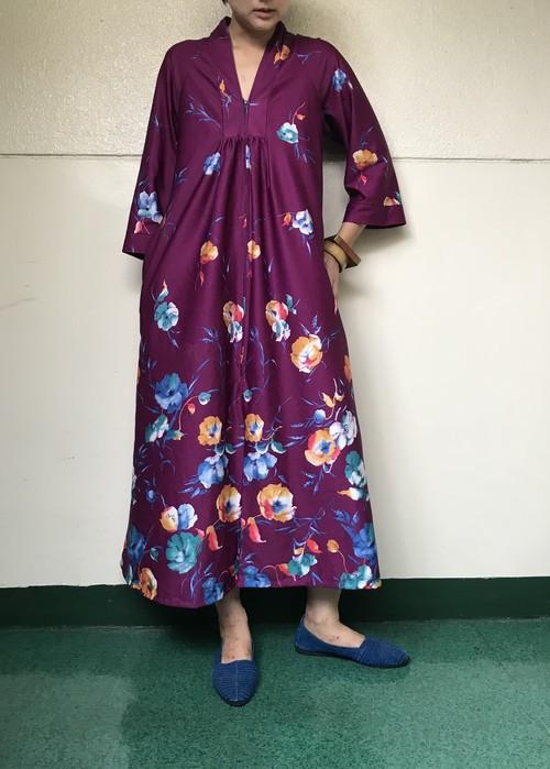 Vintage purple flower dress (ヴィンテージ  パープル フラワー ドレス)