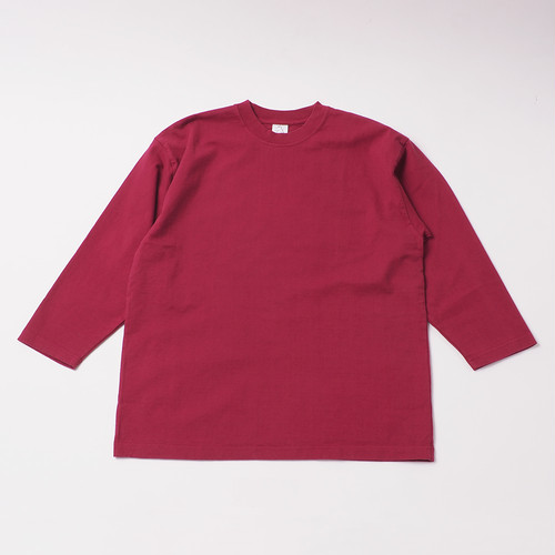 Smooth Heavy Garment Dye Embroidery Cropped Sleeve designed by joji nakamura / Burgandy