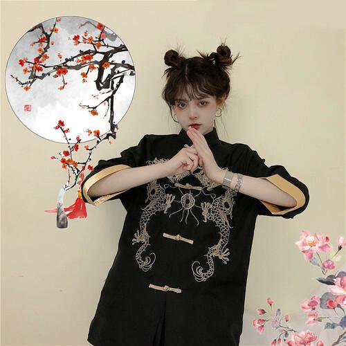 【トップス】中国系刺繍スタンドネックボタン動物柄半袖シャツ